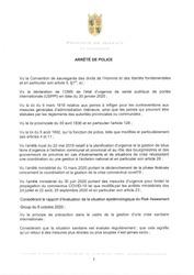 Arrêté de police provincial en vigueur ce 10 octobre 2020
