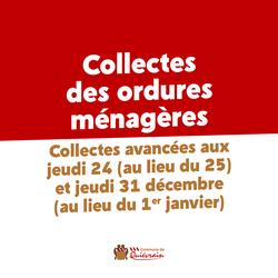 Collectes des ordures avancées au 24 et 31 décembre