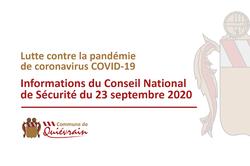 Informations suite au Conseil National de Sécurité