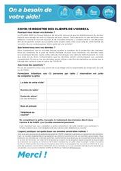 Modèle de formulaire pour enregistrer les clients Horeca