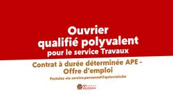 Offre d'emploi - Ouvrier qualifié polyvalent